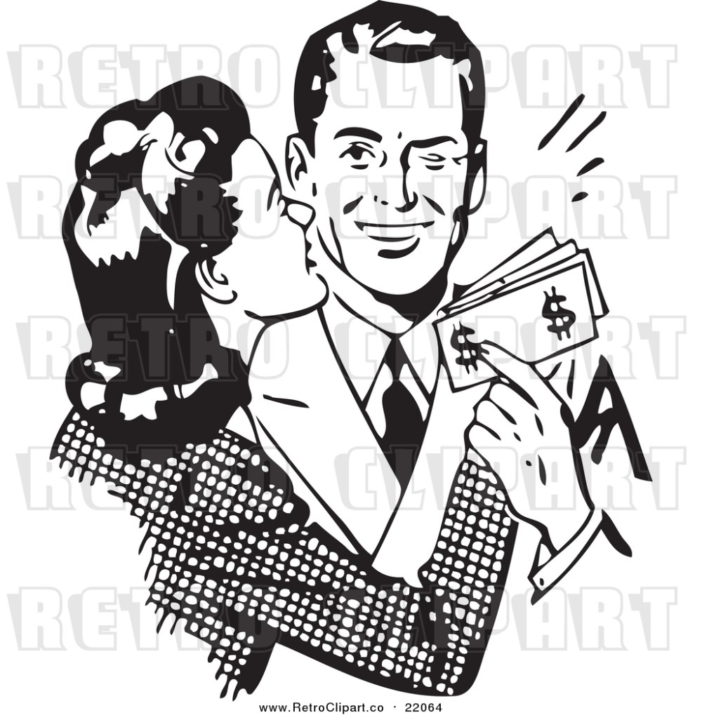 medium resolution of vector clipart of a retro wife kissing her husband on the cheek as he hands her money