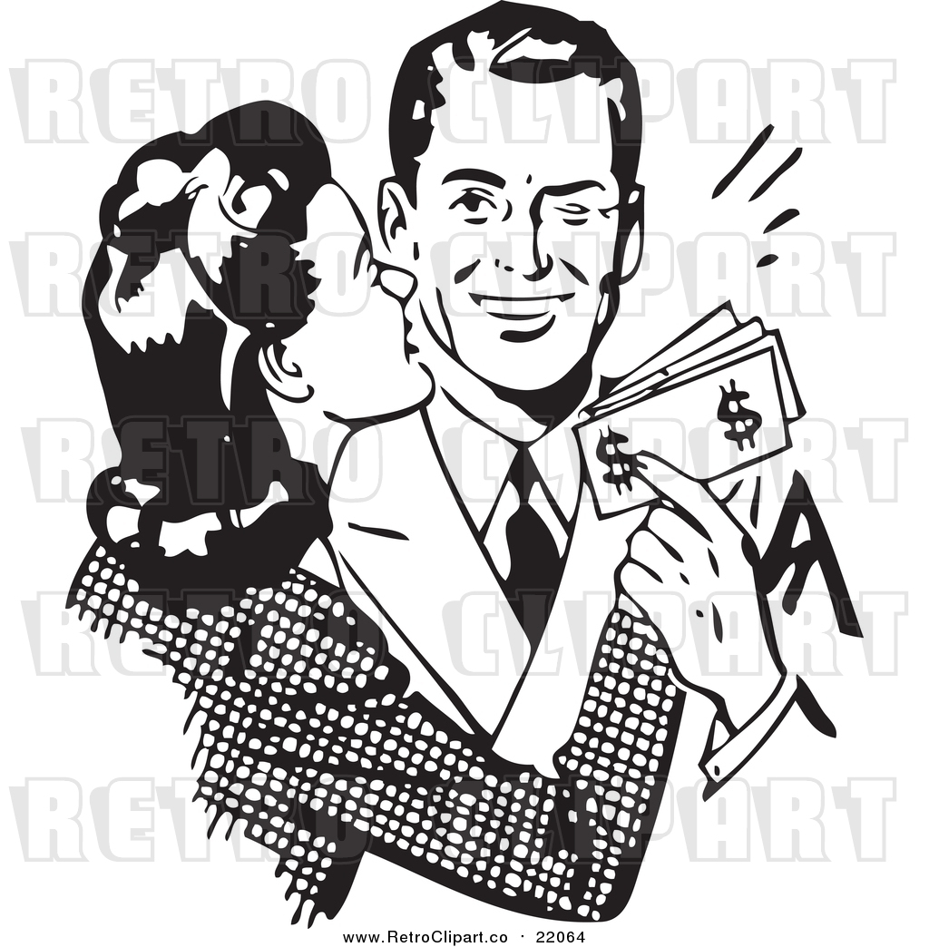 hight resolution of vector clipart of a retro wife kissing her husband on the cheek as he hands her money