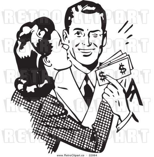 small resolution of vector clipart of a retro wife kissing her husband on the cheek as he hands her money