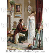 Retro Vintage Victorian Man Proposing to a Woman Royalty Free Clipart by OldPixels