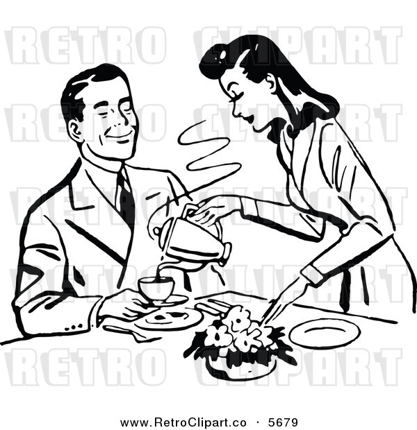Vector Clipart of an Old Fashioned Retro Black and White Woman Pouring Her Husband Coffee