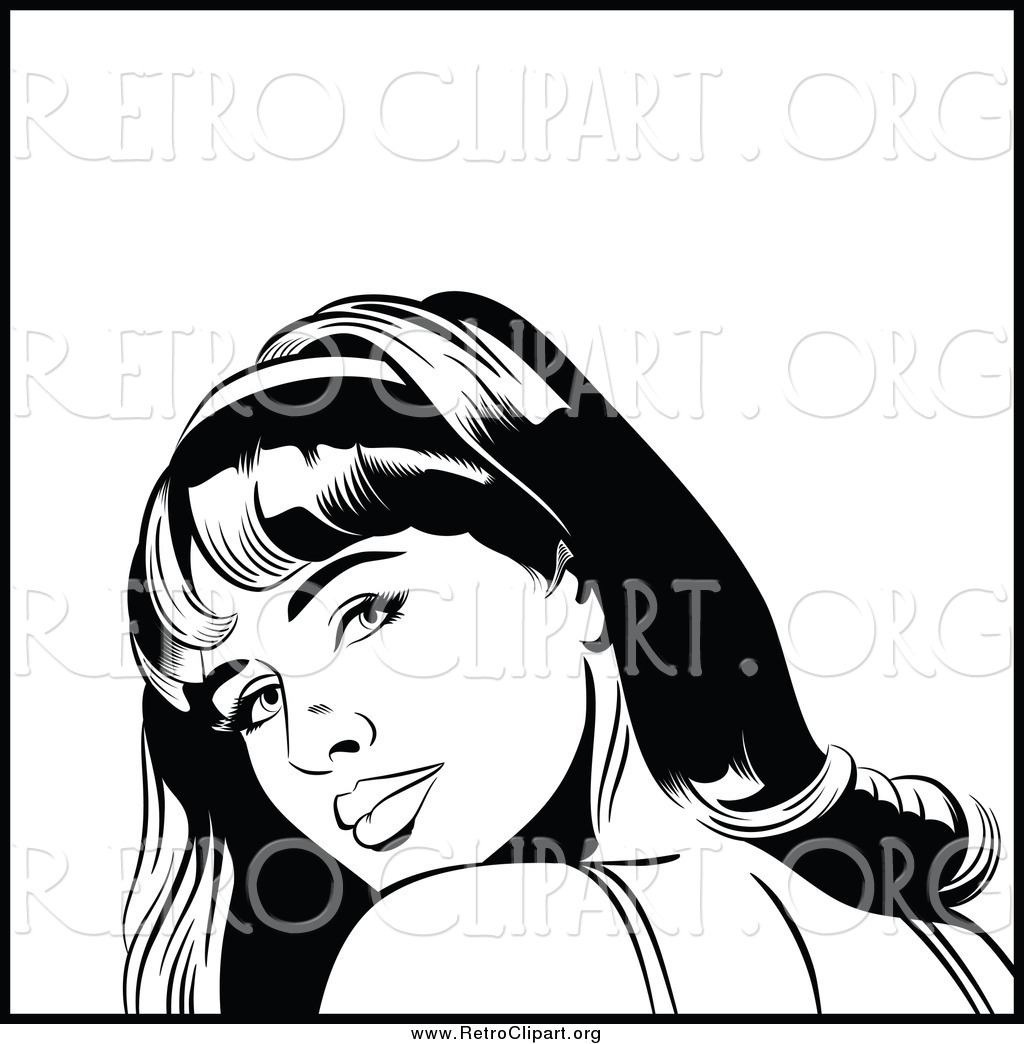 Clipart Of A Black And White Retro Pop Art Woman Looking