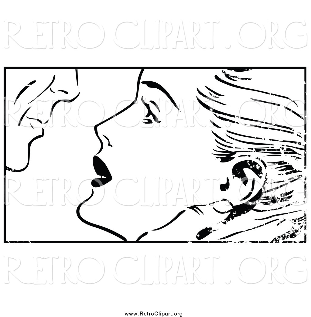 Royalty Free Man Kissing Woman Stock Retro Designs