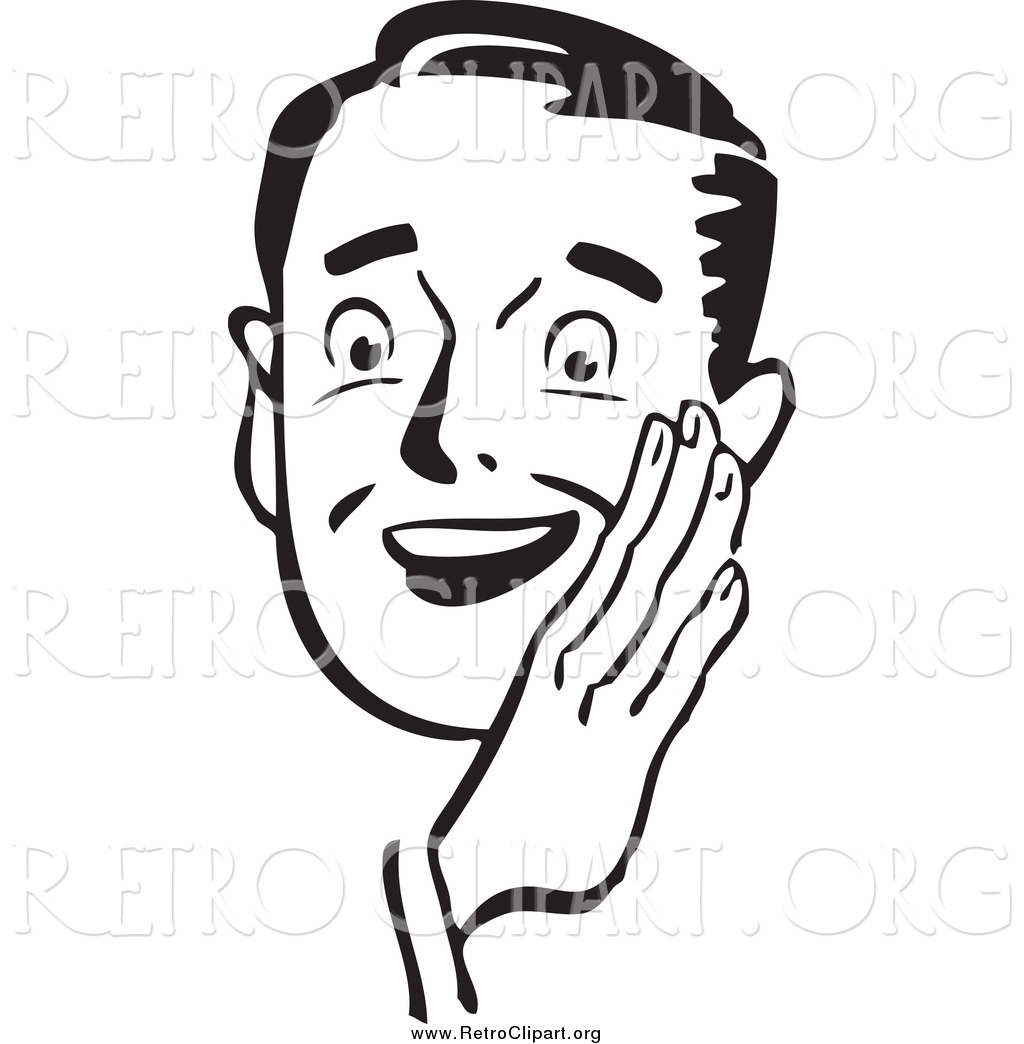 Clipart Of A Retro Black And White Guy Holding His Hand