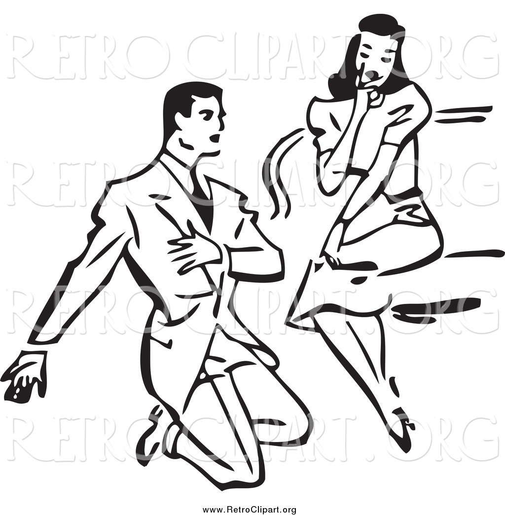 Clipart of a Retro Black and White Man Kneeling and