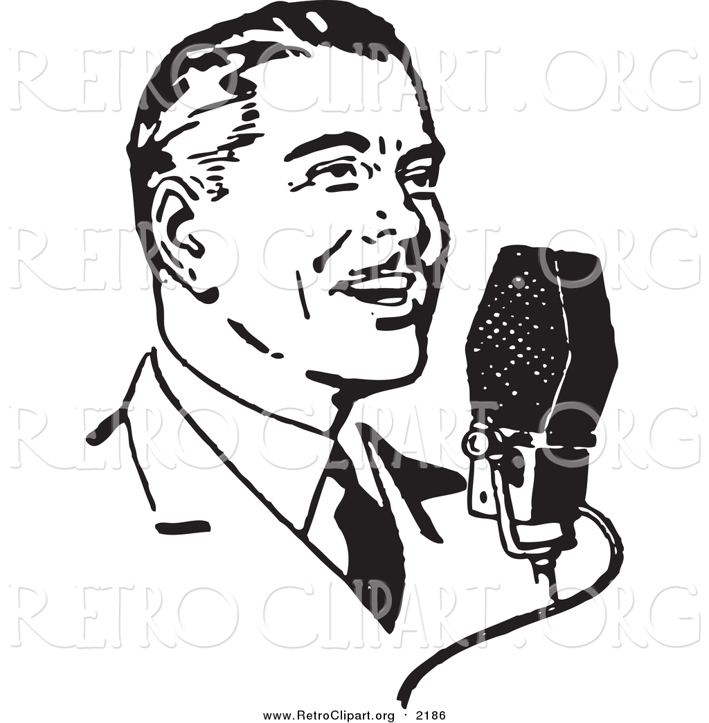 Clipart Of A Retro Black And White Man Talking Into A