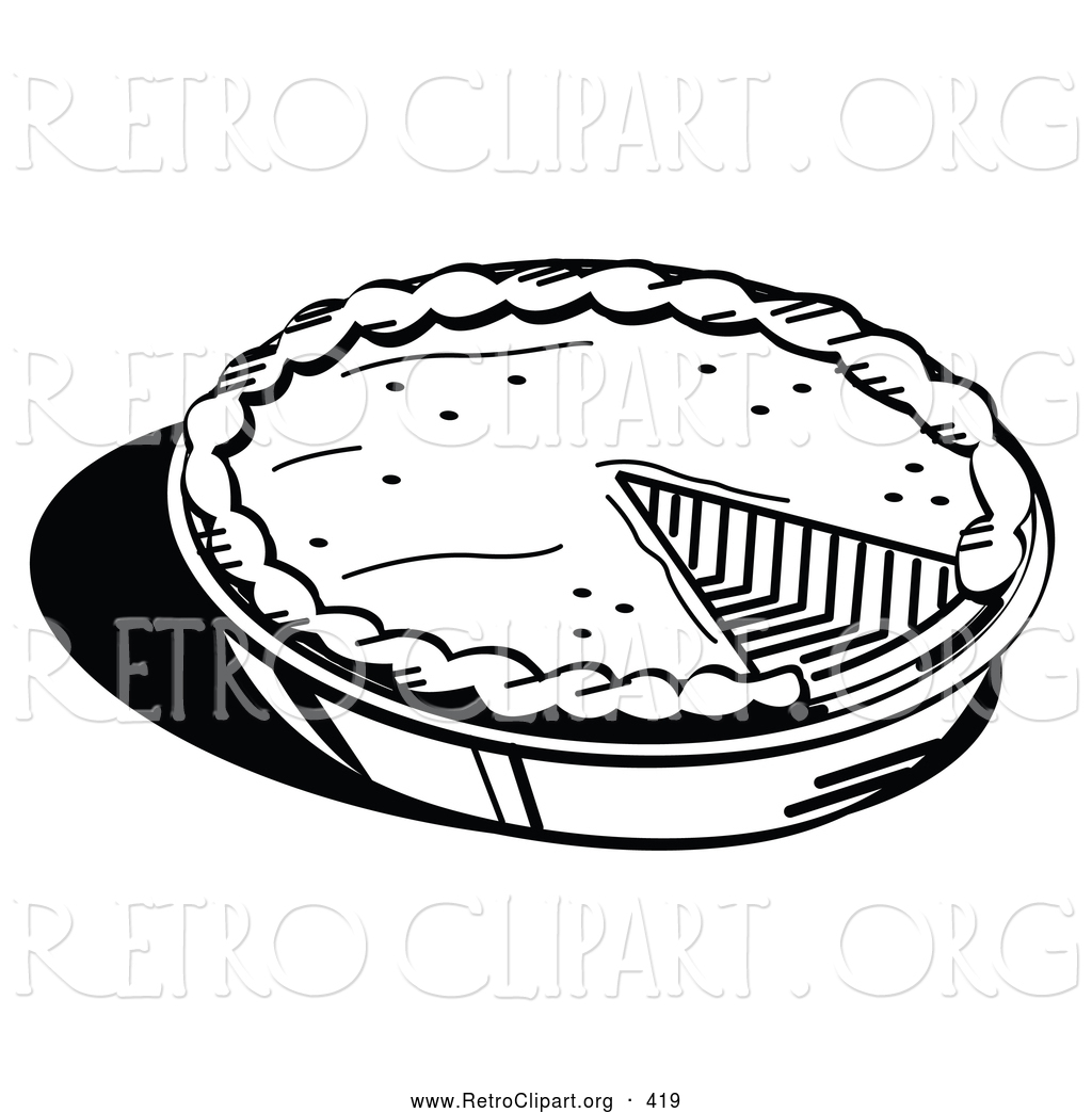 Retro Clipart Of A Black And White Outline Of A Freshly