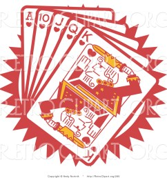 retro clipart of a hand of red poker playing cards including the ace of hearts 10 of hearts jack of hearts queen of hearts and king of hearts [ 1024 x 1044 Pixel ]