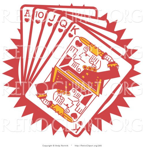 small resolution of retro clipart of a hand of red poker playing cards including the ace of hearts 10 of hearts jack of hearts queen of hearts and king of hearts