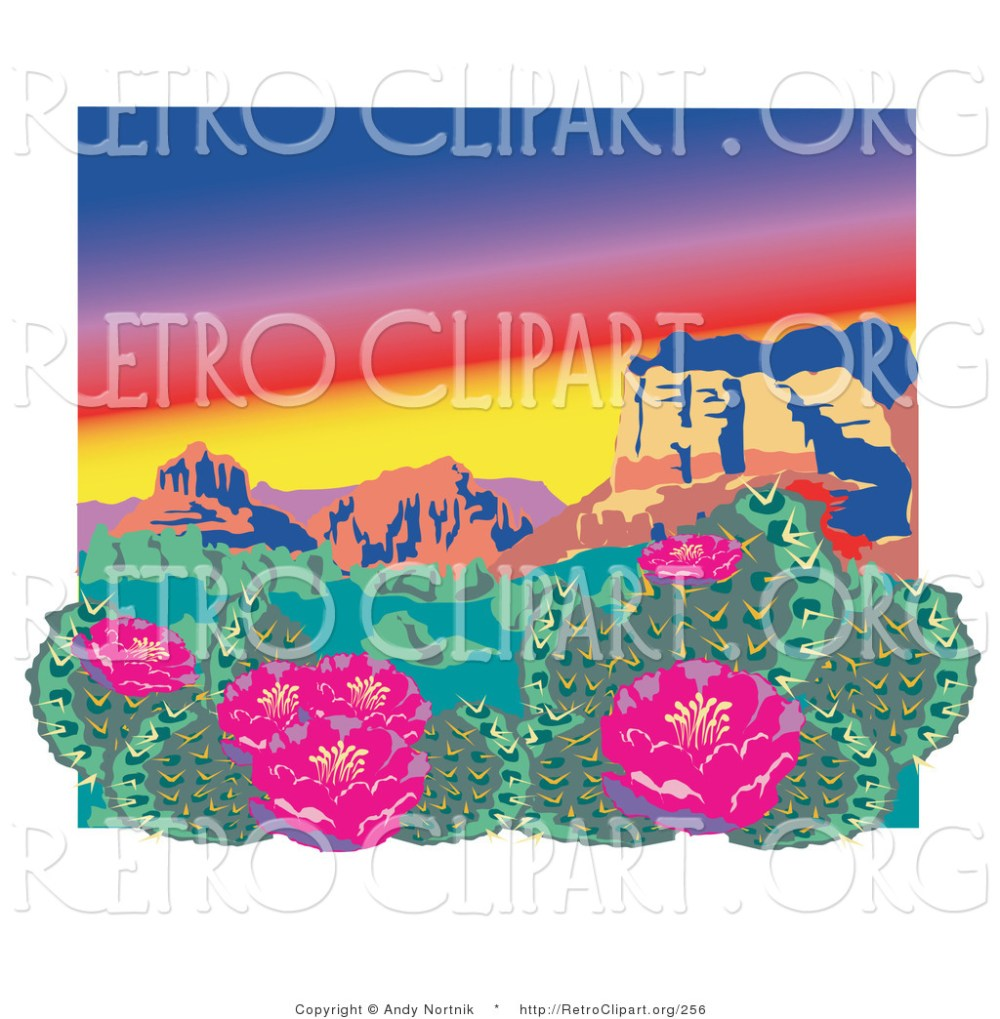 medium resolution of retro clipart of a pink flowering cactus plants in the grand canyon desert