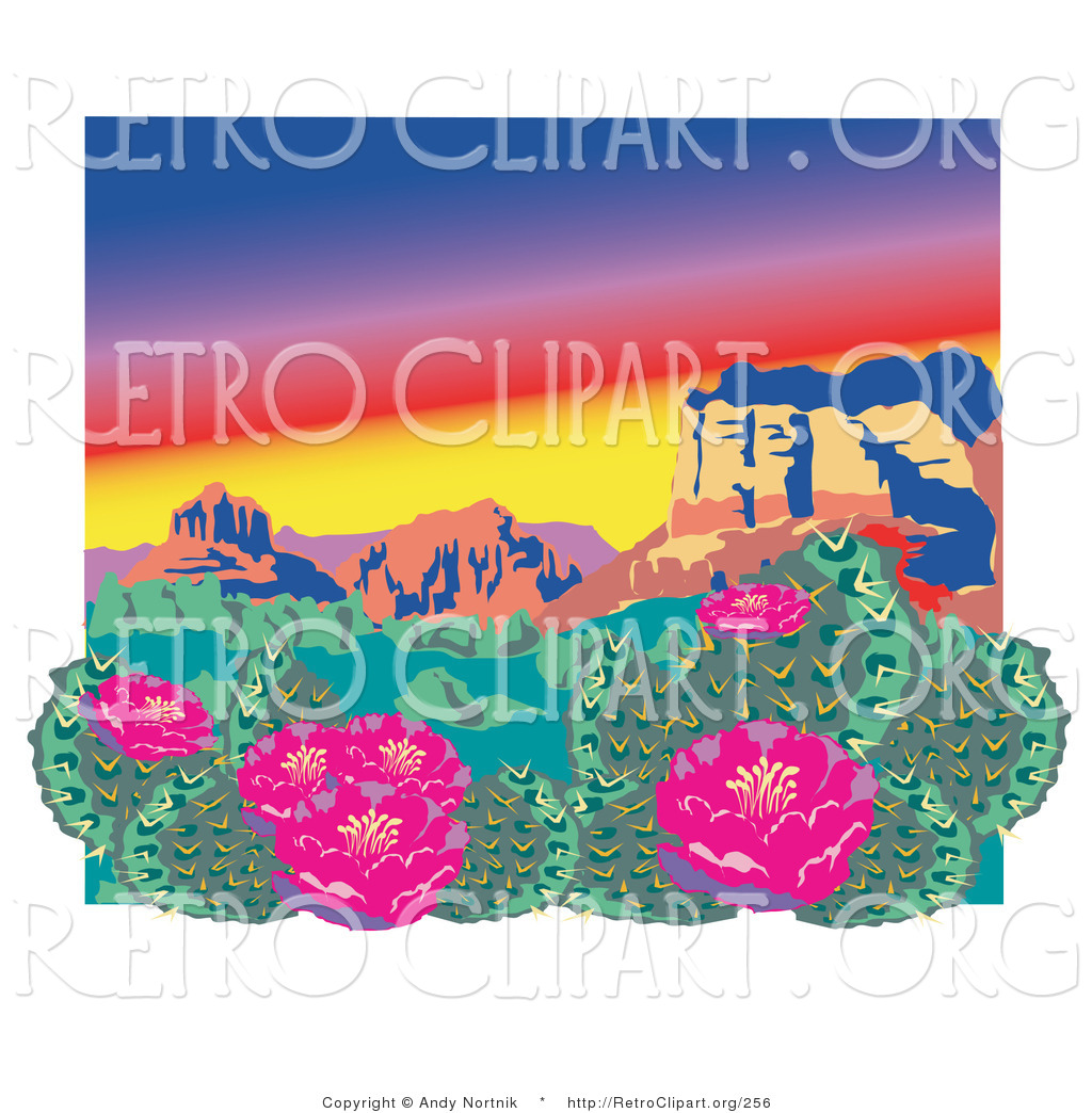 hight resolution of retro clipart of a pink flowering cactus plants in the grand canyon desert
