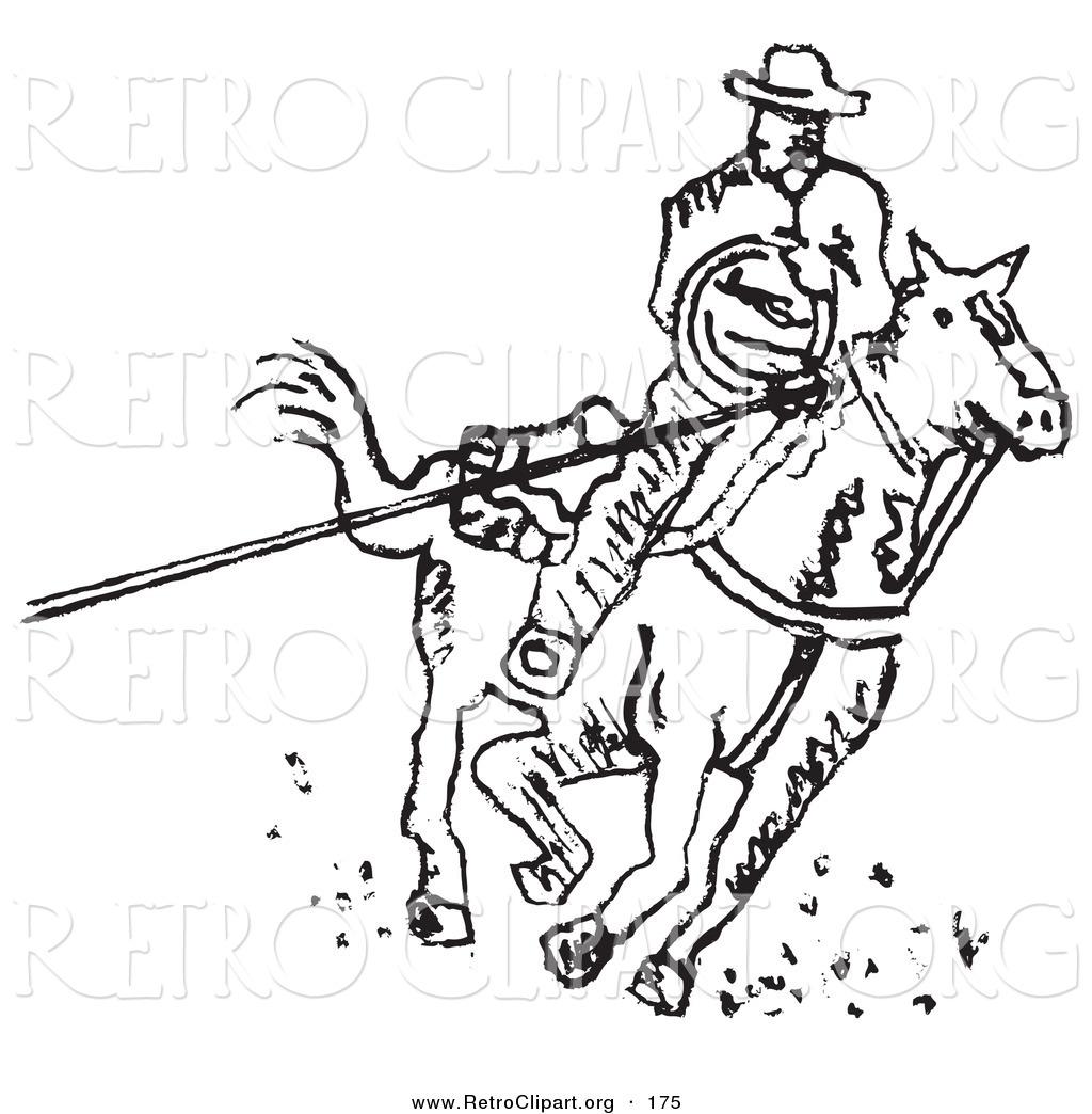 Retro Clipart Of A Roper Cowboy On A Horse Using A Lasso