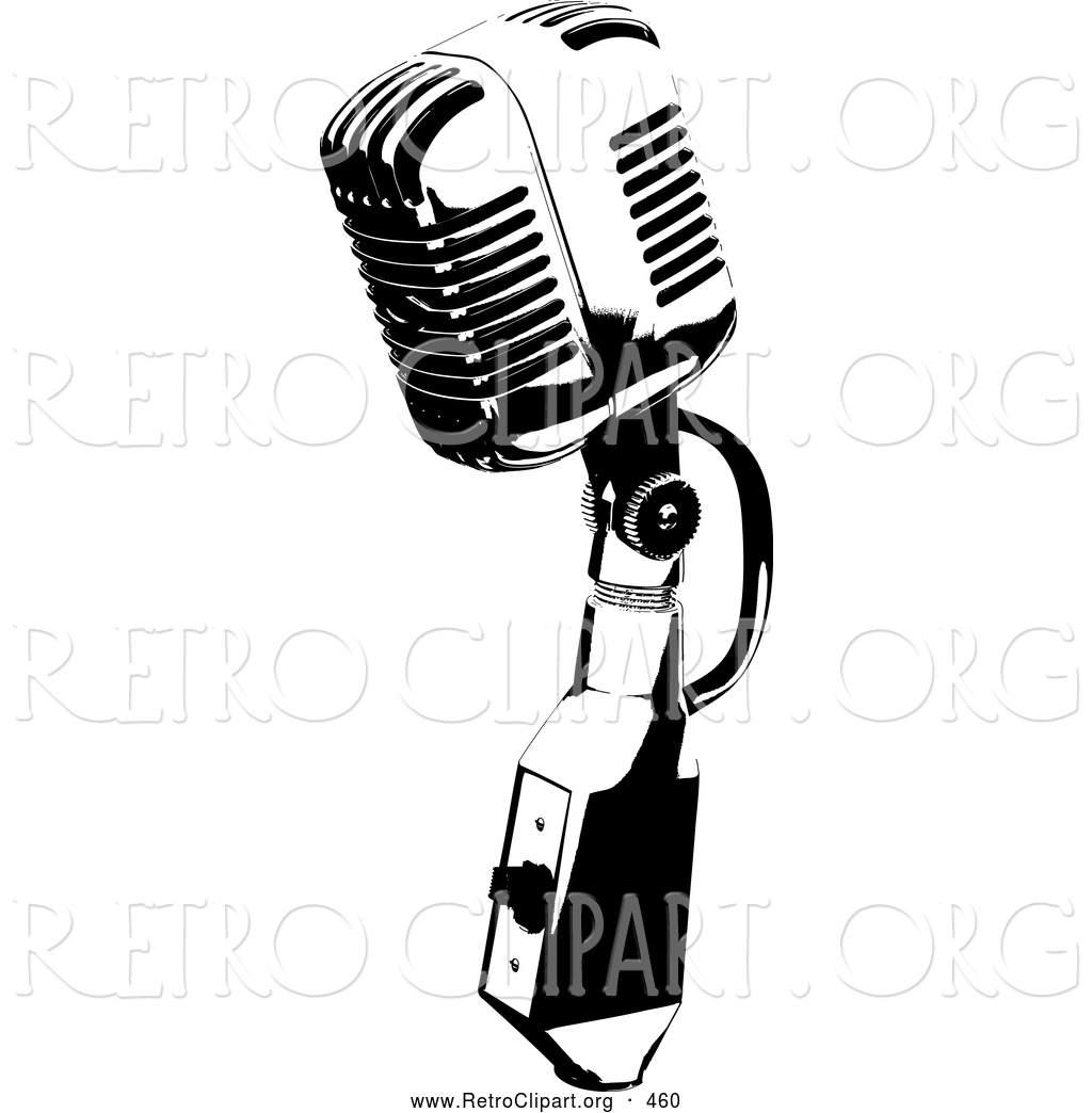 Retro Clipart Of A Vintage Black And White Microphone