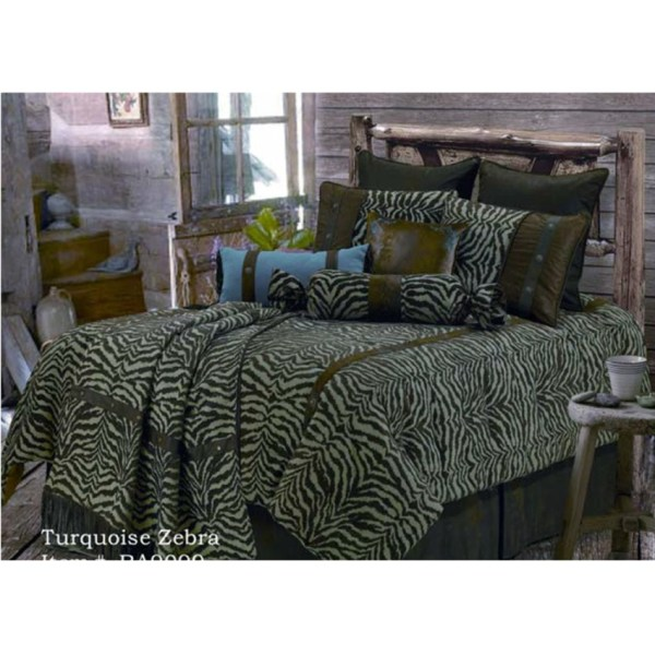 Turquoise Zebra Western Bedding Comforter Set