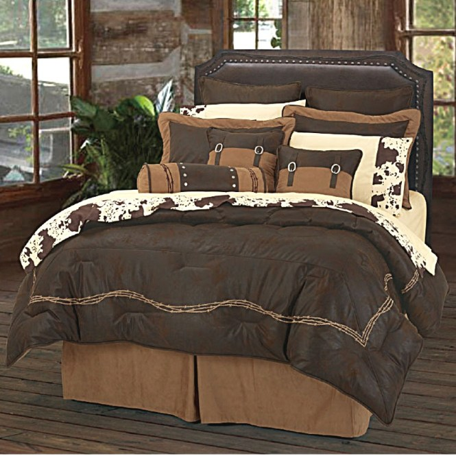Image Of Barbwire Western Bedding Collection Color Chocolate Ws3190 Ch Hiend Accents