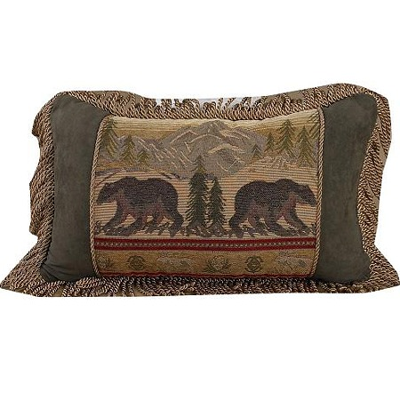 Rustic Black Bear Lodge Throw Pillow