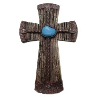 Turquoise Stone Cross Rustic Wall Decoration