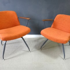 Seng Chicago Chair Canvas Deck Chairs Pair Mid Century Upholstered Retrocraft Design