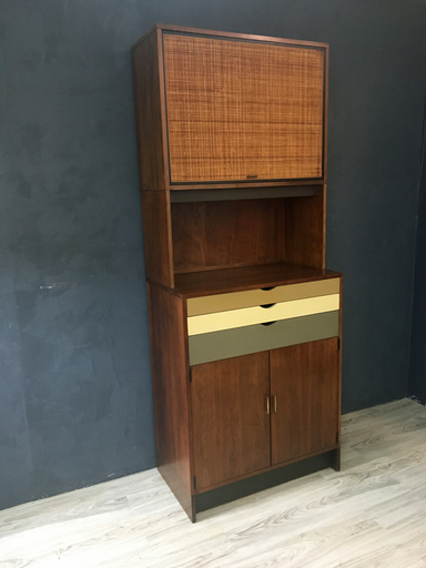 Custom Walnut Wall Cabinet  Retrocraft Design
