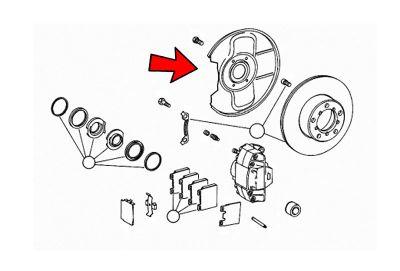 Osłona tarczy hamulcowej tył lewa Mercedes W114 W115 W123