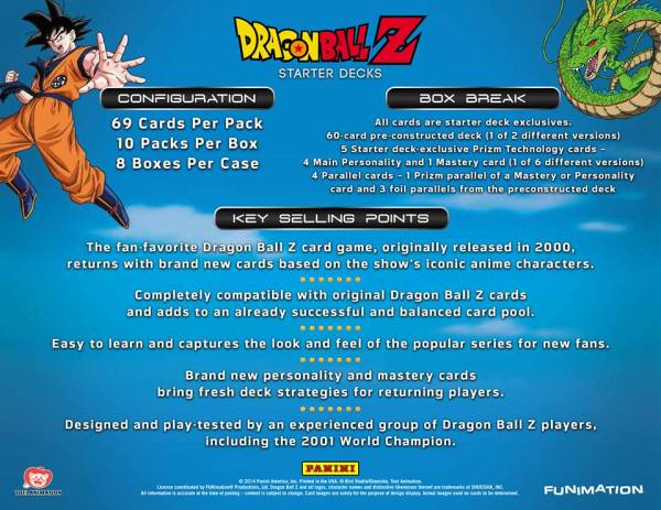 Panini America Dragon Ball Z CCG 2014 Compatibility Sheet
