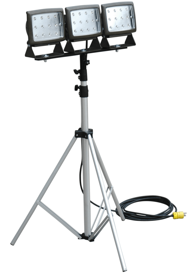 led flood light is mounted on telescoping tripod