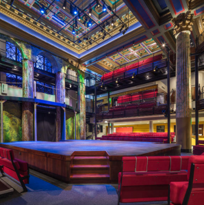Architects Cho Benn Holback + Associates, Baltimore, highlighted and honored the bank's original columns and ceiling while creating the theater.