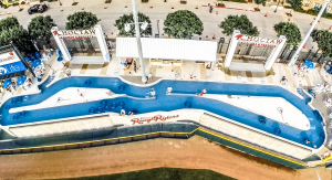 """The Choctaw Lazy River's figure-eight shape and consistent 3-foot depth direct the water's flow and maintain the consistent current needed to glide guests in inner tubes through the """"river""""."""