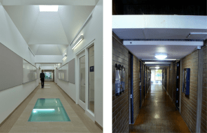 Croxton Collaborative Architects sought to introduce daylight into every square foot of the building as shown in this hallway before (right) and after.