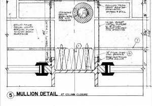 Image 3b: Fortunately, the original design drawings were available and well-crafted, clearly showing the insulated glass secured to the steel mullions with a rubber zipper gasket.