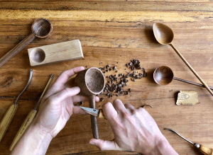 After a long workday sitting at a computer, Chris Currie, LEED AP BD+C, project designer with Lake | Flato Architects' San Antonio office, has fully embraced the handcrafted trend by carving wooden spoons by hand as a hobby. PHOTO: Chris Currie