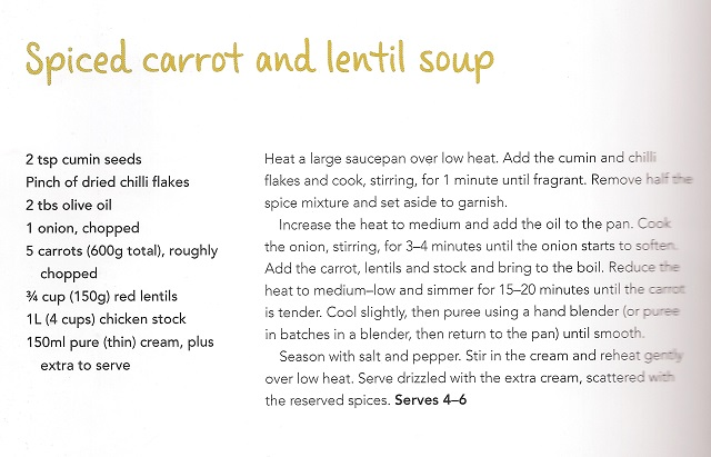 Valli Little's Spiced Carrot and Lentil Soup