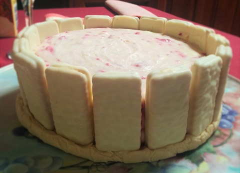 White Chocolate and Raspberry Tim Tam Cheesecake