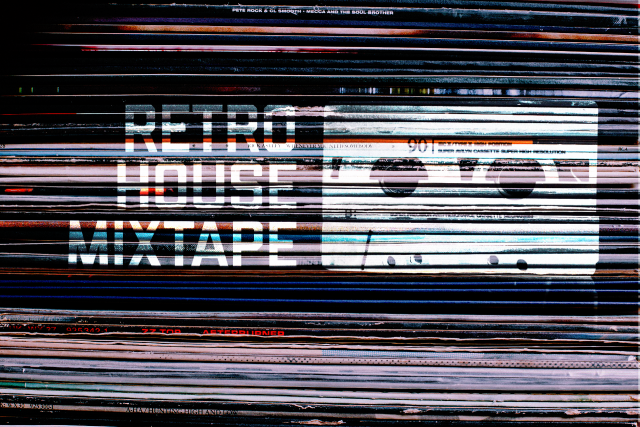 Retro House Mixtape Logo on Vinyl Records