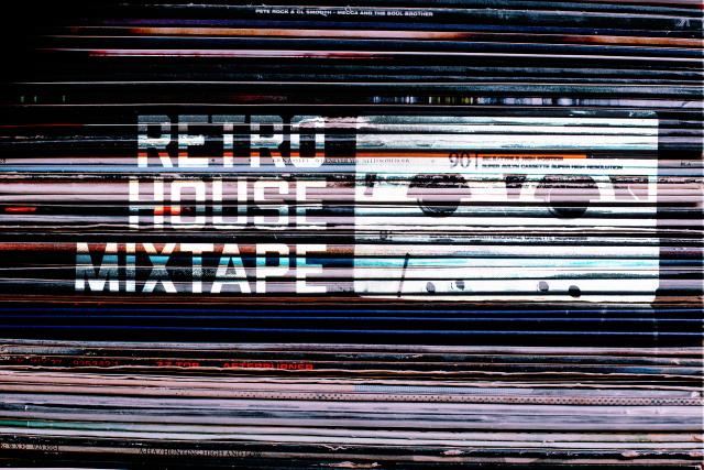 Retro House Mixtape Logo on Vinyl Records