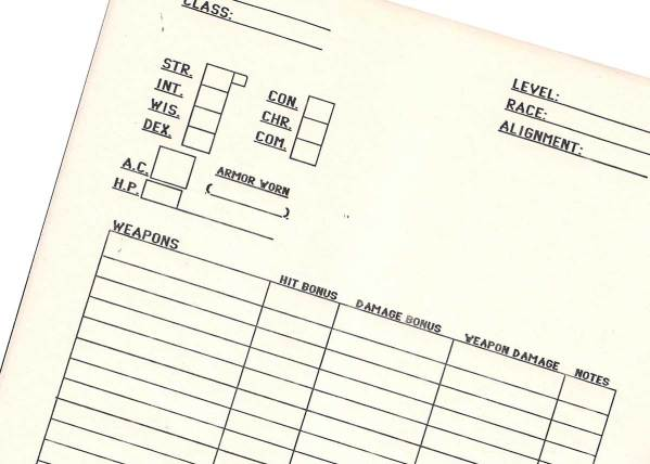Homemade Advanced Dungeons and Dragons Character Sheets from the 1980s
