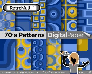 s patterns blue yellow No digital paper Listing Graphic