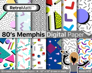 s patterns memphis No digital paper Listing Graphic