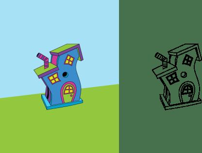 Seussian House Final black outlines version