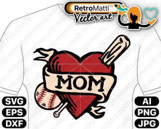 retromatti w part baseball mom tattoo