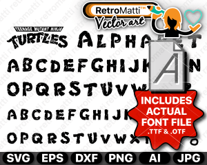 retromatti w part Recovered ninja turtles inside font