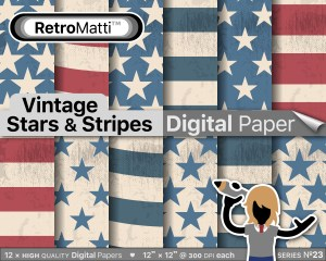 Vintage Stars Stripes No digital paper Listing Graphic
