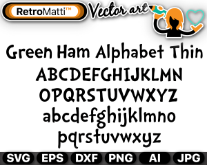 retromatti w part green ham alphabet thin