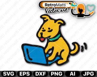retromatti w part dog on computer