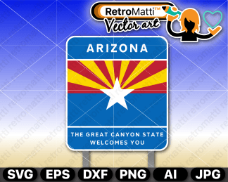 retromatti w part arizona highway sign