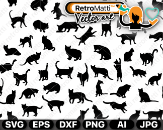 retromatti w part cat silhouettes