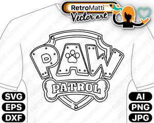 retromatti w part paw patrol logo badge