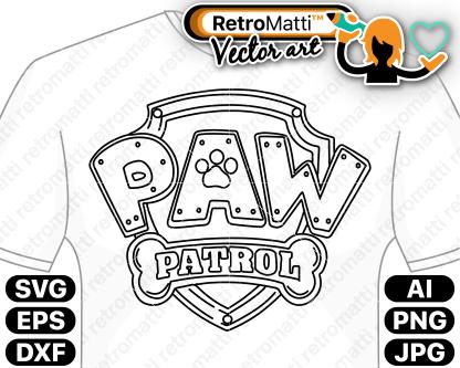 retromatti w part paw patrol logo badge