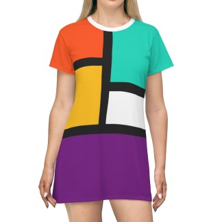 RetroColorBlockAOPT shirtDress