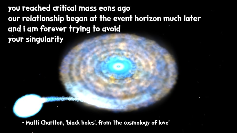 swirling black hole the cosmology of love poetry collection quote by Matti charlton on nasa space image background
